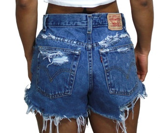 All Sizes Distressed Levi Cut Off Shorts