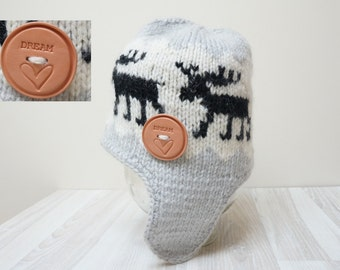 Extra ear flap warm hat beanie beret  cap knit Scandinavian chunky handmade white gray black elk deer reindeer natural  patterned