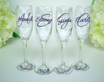 4 Bridesmaid Champagne Glasses - Monogrammed Toasting Flutes - Monogrammed Bride and Bridesmaid Champagne Flute - Wedding Glasses