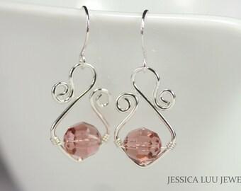 Dusty Rose Swarovski Crystal Earrings Wire Wrapped Jewelry Handmade Sterling Silver Jewelry Handmade Swarovski Crystal Jewelry Pink Earrings