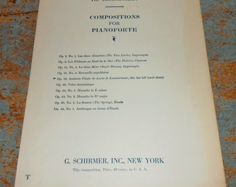 "Vintage Music Sheet, ""Andante Finale"", Lucia di Lammermoor, Piano, 1906, Old, Music Score, Sheet Music, Op. 13"