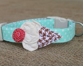 Ice Cream Dog Collar - Light Aqua Pin Dot with Cinnamon Houndstooth Cone and Red Pin Dot Cherry