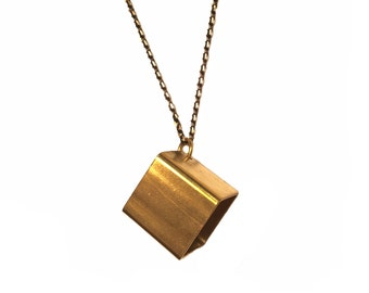 CUBE - Brass Necklace, Brass Cube, Unisex Jewelry, Mens Jewelry, Mens Necklace, Cube Pendant, Cube Necklace, Geometirc Cube Necklace, Cubes