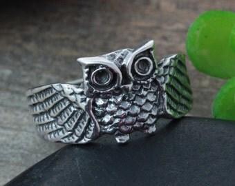 Sterling silver OWL Ring, Silver Owl Ring, Silver Owl Ring, Rings Jewelry. owl ring , Unsex rings