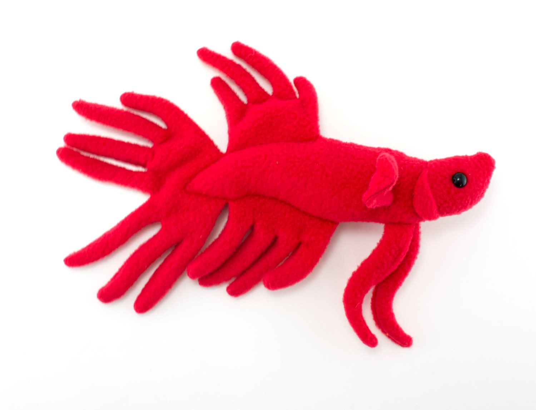 Red betta fish stuffed animal plush toy crown tail type for Koi fish plush