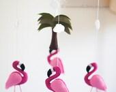 Hot Pink Flamingo Mobile, Felt Flamingo, Jungle Tree, Baby Girl Mobile, Baby Girl Nursery, Flamingo Nursery Decor, Flamingo Baby Shower
