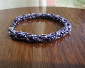 Light and Dark Purple Enameled Copper and Anodized Aluminum Chainmaille Bracelet