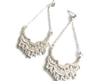Cast lace earrings | Etsy