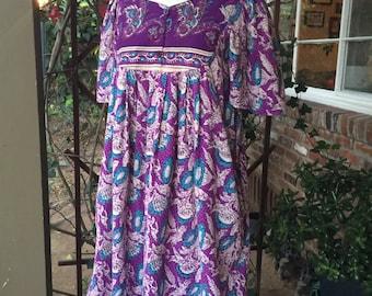 Vintage 80s India Dress. Floral Hippie Mini Dress