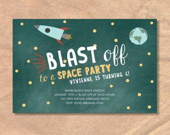 Printable Children's/Kids Space Birthday Invitation: Space Rocket