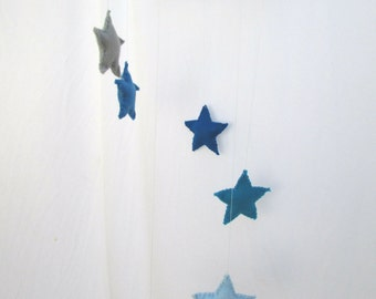 Star Mobile Blue Grey Mobile Star Candelier Mobile Blue Nursery Decor Baby Boy Mobile Silver Star Mobile Boy Baby Shower Birthday Party