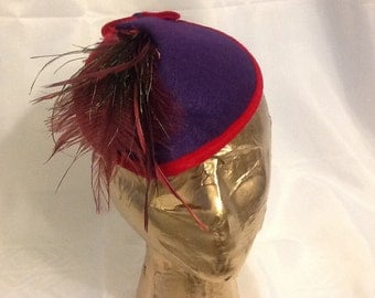 Purple Felt Fascinator with Red Accents