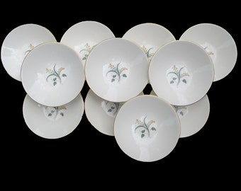 Knowles China Accent Shape Forsythia Pattern - Freda Diamond Design - Set of 4 Fruit Bowls  (2 Sets Available)
