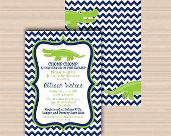 Alligator Baby Shower, Digital Invitation A038
