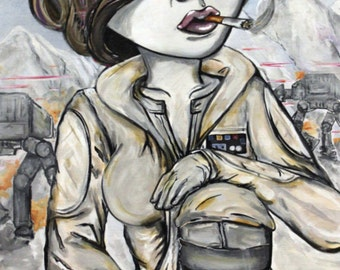 10x20 Print Star Wars, Hoth Princess Leia, Lowbrow Art by Lizzy Falcon