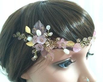 Pink wedding vine, pearl bridal headpiece, bridal vine, head vine, wedding headpiece, floral wedding vine, flower wedding hair accessories