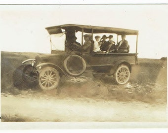 Antique Snapshot Photo of  People Riding on Long Automobile or Safari
