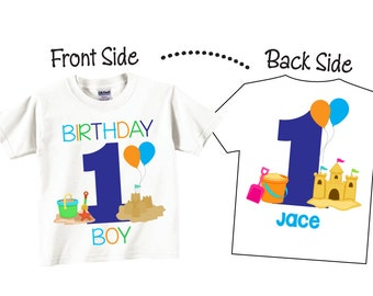 My 1st Birthday Shirts and Tshirts with Beach Party theme and Sandcastle Tees