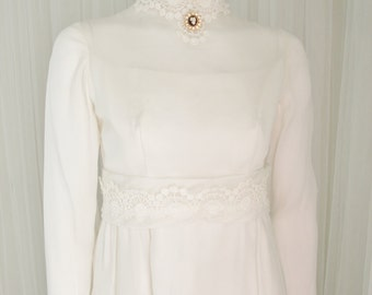 Vintage Mid Century High Neck Column Wedding Gown with Belt and Detachable Train