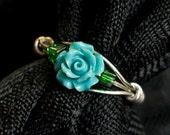 Aqua Rose with Silver Vines Ring - Aqua Resin Rose - Ring Size 5