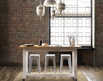 Flash Sale! Shabby Chic Industrial Recycled Rustic White & Timber Wooden High Bench Kitchen Island / Solid Timber Dining Bar Table / Console