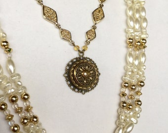 Multiple Pearl Strands , Elegant Necklace , Bohemian Gypsy Brass Button Jewerly by Vintage Renewed
