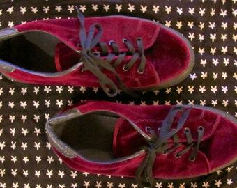 dark red velvet platform sneakers sz 7