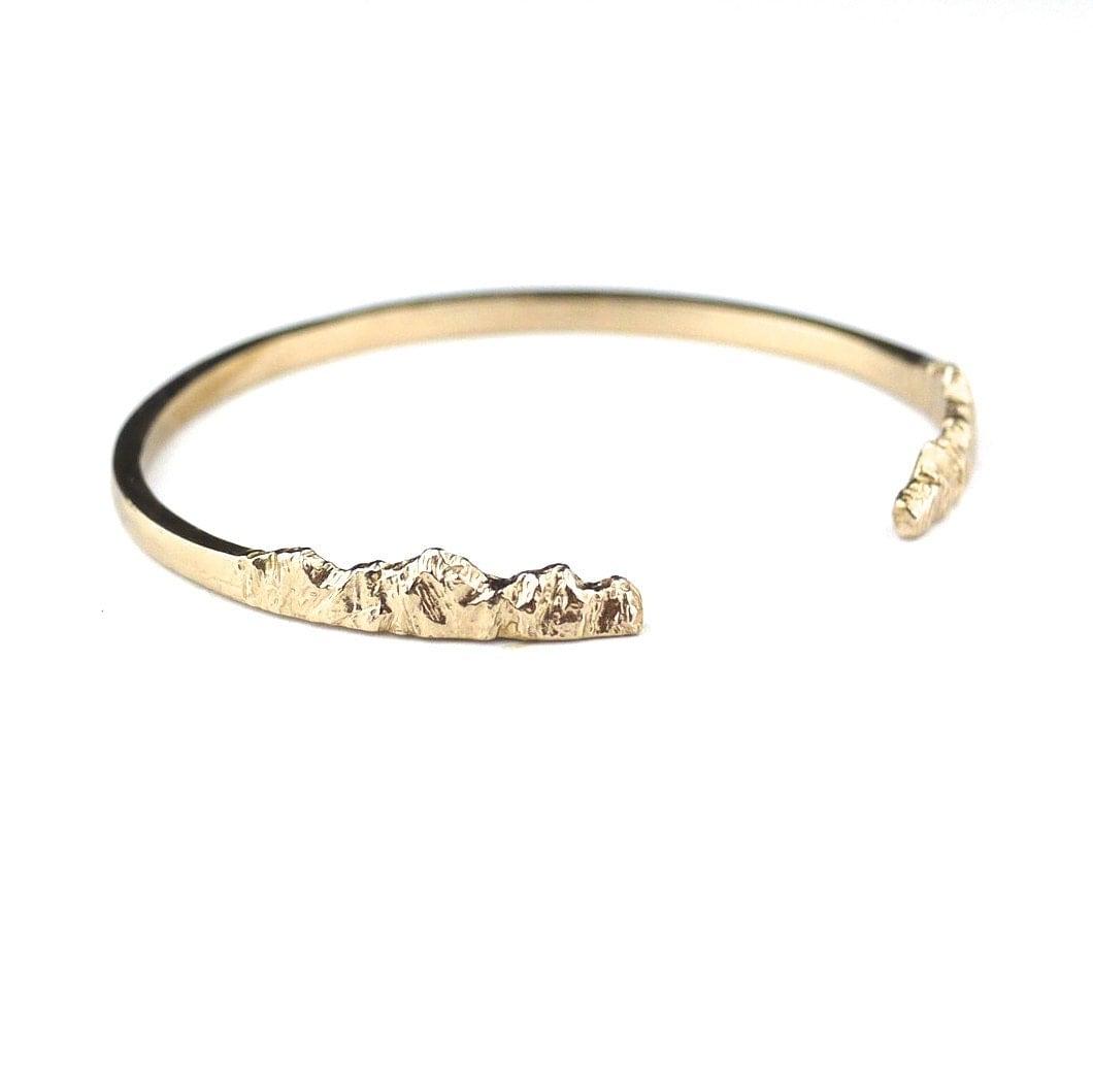 nature bracelet mountain bracelet nature jewelry gold cuff