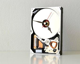 Unique Desk Clock - Office Home Decor - Recycled Computer Clock -  Reclaimed Vintage Hard Drive Clock - Industrial Decor