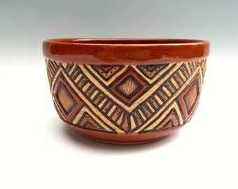 Aztec Carved Triangle Geometric Design Pottery Bowl - Stoneware - Sienna Red Brown Tan - Serving, Cereal, Salad - Unique, Original - 3 Cups