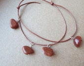 Goldstone Bead Charm Bracelet, Copper Leather Charm Bracelet, Bead Charm Leather Bracelet, Handmade Leather Charm Bracelet, Scotland, U.K.