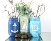 Beach Decor Nautical, Beach Decor Ideas, Mason Jar Decor, Distressed Home Decor, Rustic Centerpiece, Beach Cottage Decor, Tabletop Decor