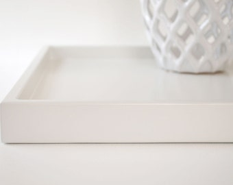 White 14 x 18 Shallow Decorative Tray, Lacquered Wood Serving Tray, Coffee Table Tray