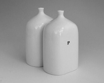 Porcelain vial salt and pepper shakers