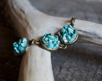 Turquoise bracelet, turquoise mineral bracelet, boho bracelet, turquoise jewelry, delicate bracelet, summer boho bride, bohemian wedding