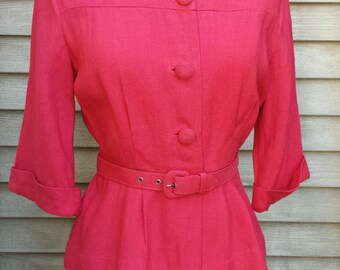 Vintage 2 piece suit / mid century Mad Men style office attire / jacket and skirt with belt / 1950s vintage outfit / 50s womens suit