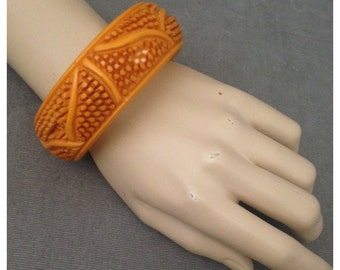 Chunky,Deeply Carved Bakelite Bangle in Butterscotch, Porcupine Quills