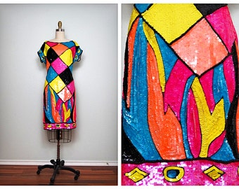 NEON Pop Art Sequin Dress / Bright Iridescent Retro Sequined Party Dress
