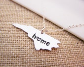 North Carolina Home State Hand Stamped Heart North Carolina State Sterling Silver Necklace / Gift for Her