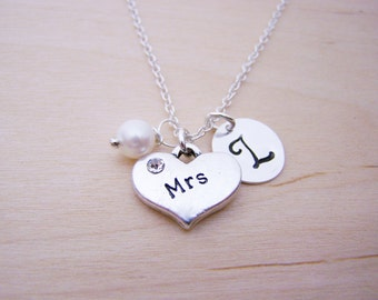Mrs Charm Necklace -  Swarovski Birthstone Initial Personalized Sterling Silver Necklace / Gift for Her - Bride Charm
