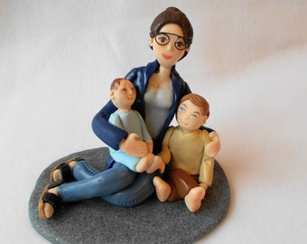 Custom Birthday Cake Topper, Polymer Clay Cake Topper, Polymer Clay Figurine.  A Hand Crafted Art Sculpture.