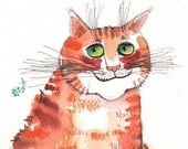 The red satiated cat