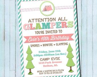 Girl Camping Birthday Invitation | Girl Glamping Birthday Invitation | Camping Glamping Birthday Digital Invitation