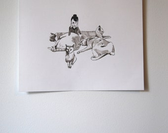 Cat Pile Illustration, Ink drawing, Wall Print