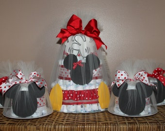 Minnie Mouse-inspired diaper cake combination (One 3-tiered diaper cake, six small diaper cakes)