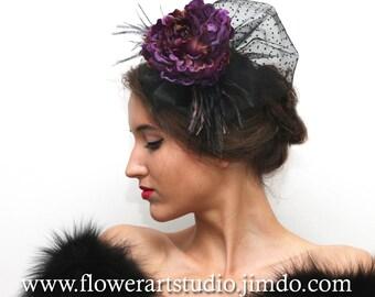 Purple Kentucky Derby Hat, Purple Fascinator, Purple and Black Headband, Vintage Style Headpiece, Retro Hair Piece, Mother of a bride hat.