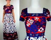 Vintage 60s Hawaiian Print Floral Color Block Maxi Dress w/ Cap Sleeves + Square Neckline. Red, White, Blue Bohemian Sundress. Extra Small