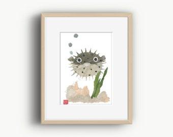 Puffer Fish, Blowfish, Fish Art, Fish Print, Pufferfish, Harisenbon