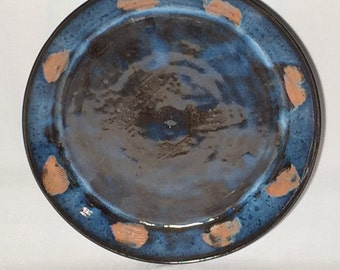 """15"""" Blue and Black Handmade Stoneware Wheel Thrown Serving Platter with Shell Imprint- PL01/PL02"""