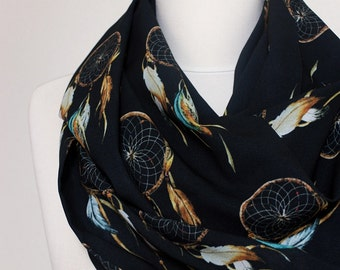 DreamCatcher Infinity scarf, Circle scarf, Black Scarf, Scarves, Shawls, spring - fall - winter - summer fashion